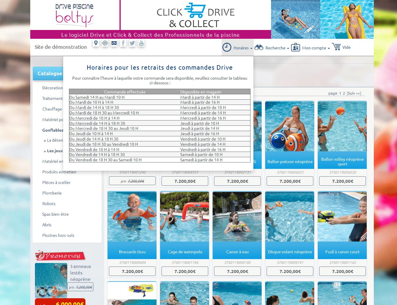Logiciel Drive - Click & Collect des pisciniers